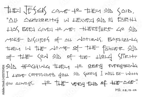 Fotografía Christian Biblical phrase ink illustration