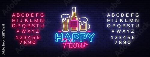 Stampa su Tela Happy Hour neon sign vector