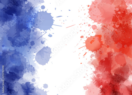 Wallpaper Mural Abstract splashes in France flag colors.