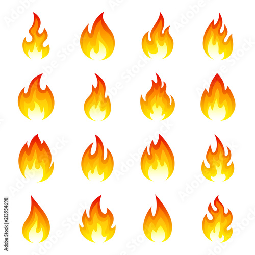 Valokuvatapetti Fire flame icon set