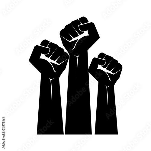 Fotografia Raised fists resistance silhouette