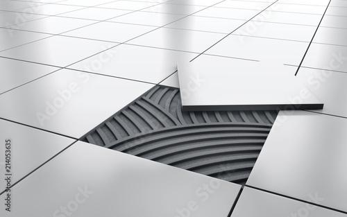 White glossy ceramic tile floor repair. background. 3d rendering Fototapete