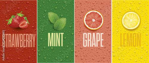Fotografie, Obraz Drinks and juice background with drops and grapefruit, lemon slice, mint leaf an