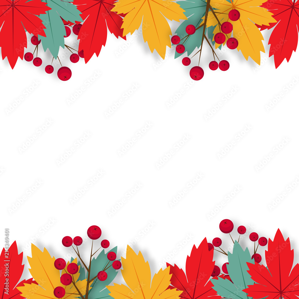Autumn background with paper art design vector and illustration <span>plik: #214249401 | autor: titaporn</span>
