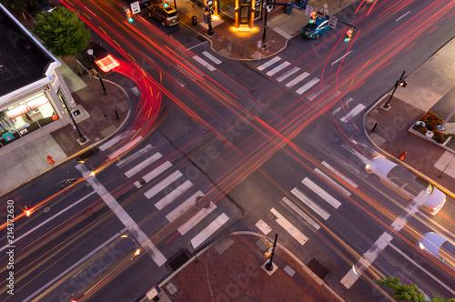 Obraz na plátně Lancaster intersection at sunset