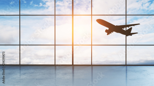 take off aircraft behind airport window