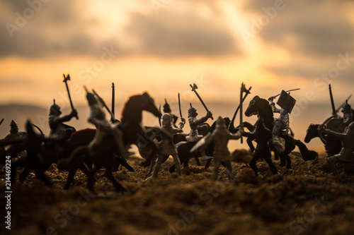 Canvastavla Medieval battle scene with cavalry and infantry