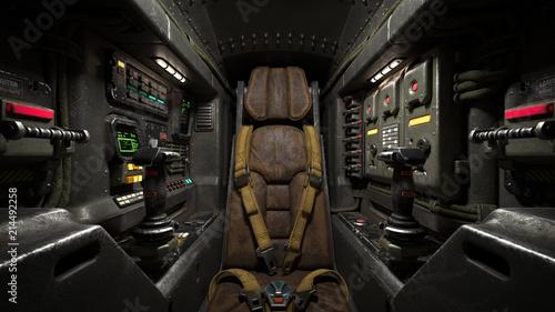 Tablou Canvas Science fiction pilot's seat in the cockpit