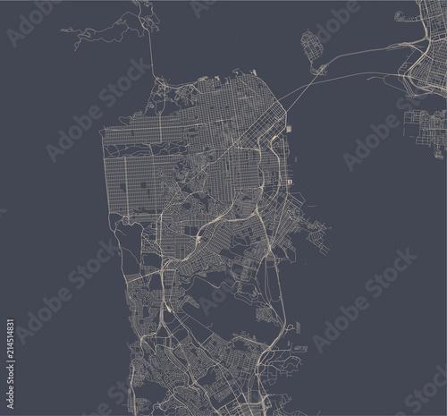 Obraz na plátně vector map of the city of San Francisco, USA