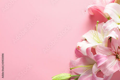 Flat lay composition with beautiful blooming lily flowers on color background