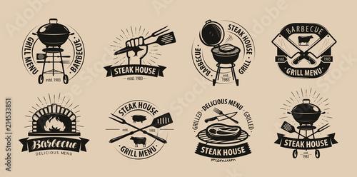 Obraz na płótnie BBQ, barbecue, grill logo or icons