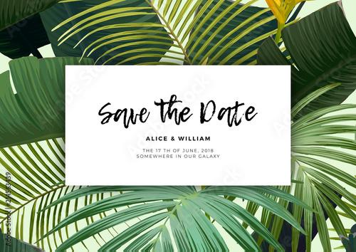 Kwiatowe zaproszenie na ślub z kwiatami guzmania, monstera i królewskimi liśćmi palmowymi. Egzotyczne hawajskie tło wektor.