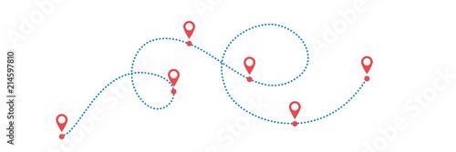 Obraz na plátně Dotted path with points