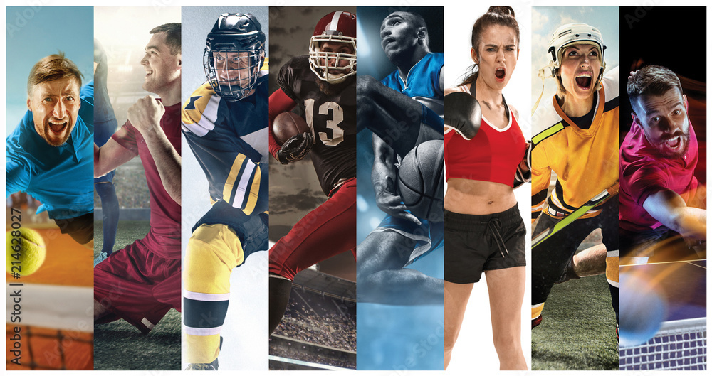 Sport collage about soccer, american football, basketball, tennis, boxing, ice and field hockey, table tennis