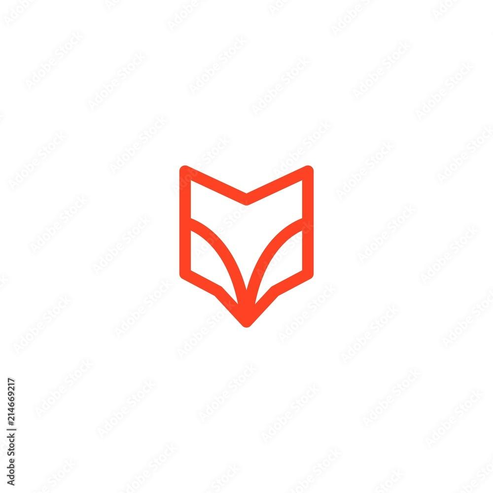 fox head abstract shield logo line art outline monoline <span>plik: #214669217   autor: angga</span>
