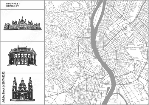 Wallpaper Mural Budapest city map with hand-drawn architecture icons