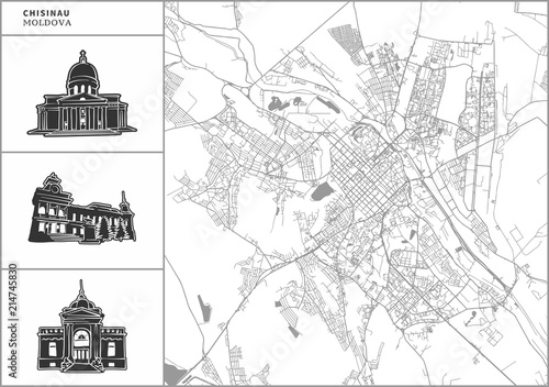 Wallpaper Mural Chisinau city map with hand-drawn architecture icons