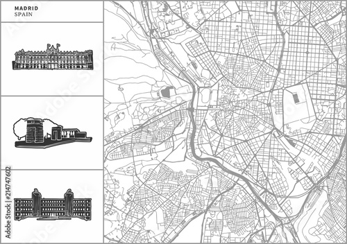 Wallpaper Mural Madrid city map with hand-drawn architecture icons
