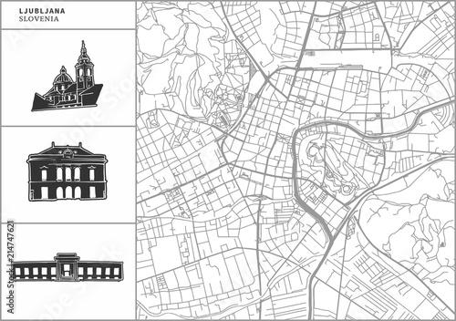 Photo Ljubljana city map with hand-drawn architecture icons