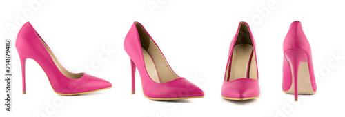 Obraz na plátne Stiletto woman heel shoes set front back cross side