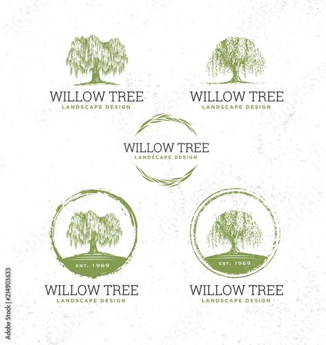Fotografija Willow Tree Landscape Design Creative Vector Nature Friendly Sign Concept