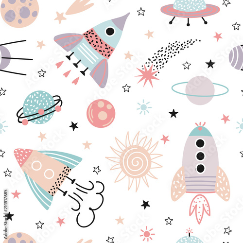 Kosmos wzór dla dzieci. Rakiety, planety, gwiazdy i komety.