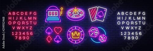 Wallpaper Mural Casino neon collection vector icons