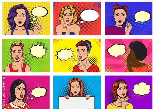 Fototapeta Komiks z kobietami z chmurkami popart retro do biura