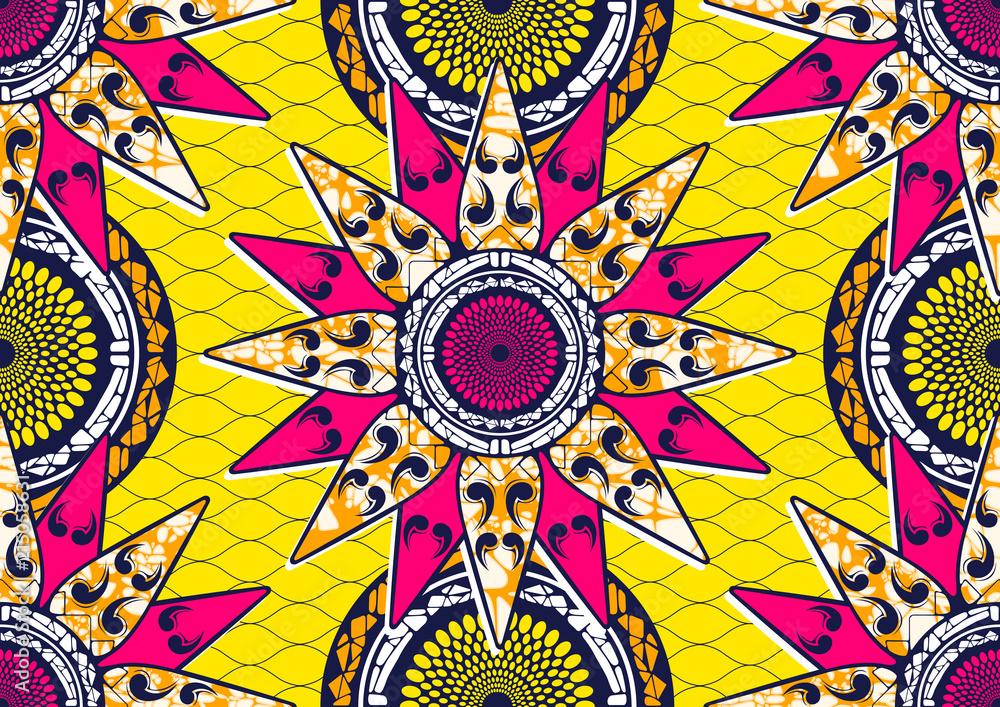 Textile fashion african print fabric, abstract seamless, vector illustration file. <span>plik: #215058631 | autor: kirkchai</span>