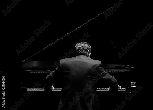 Obraz na płótnie pianist from his back playing in the dark