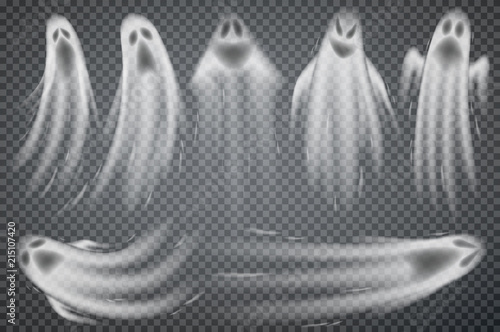 Wall mural Set of realistic ghosts isolated on transparent. Vector illustration of 3d symbols of halloween.