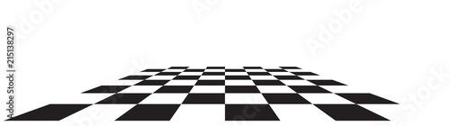 Fotografie, Tablou Checkerboard, chessboard, checkered plane in angle perspective