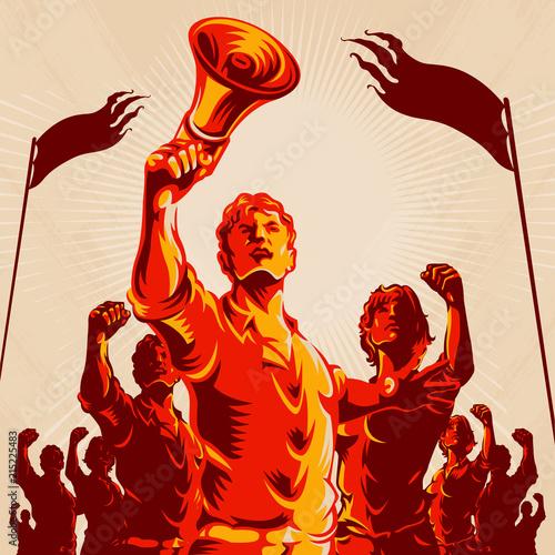 Stampa su Tela Crowd protest fist revolution poster design