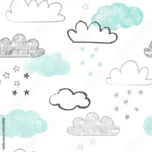 Obraz na płótnie z ręcznie rysowanymi chmurami