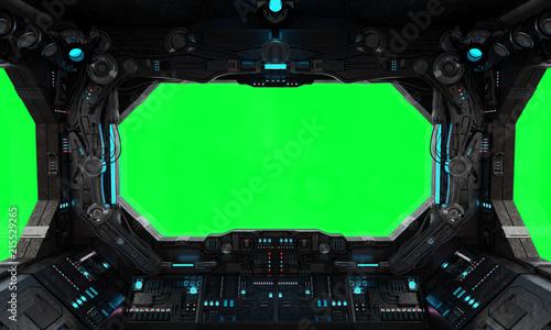 Fotografie, Tablou Spaceship grunge interior window isolated