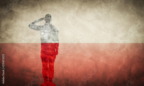 Fotografie, Obraz Polish grunge flag with soldier silhouette.