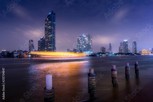 Wallpaper Mural Long exposure of Bangkok's skyscrapers at night