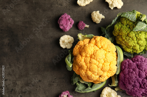 Colorful cauliflower cabbages on table, top view. Healthy food