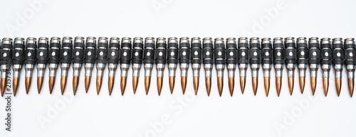 Fotografija ammo belt full of bullets isolated