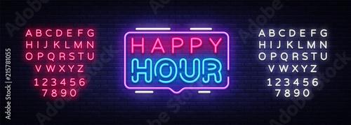 Tablou Canvas Happy Hour neon sign vector design template