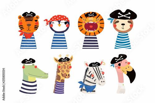 Fototapeta Set of cute funny little animals pirates lion, tiger, zebra, flamingo, penguin, sloth, giraffe, crocodile