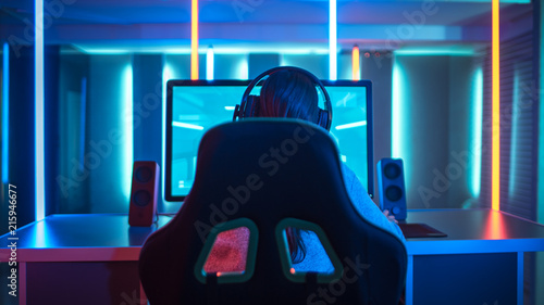 Fotografie, Obraz Back View of Professional Gamer Playing in First-Person Shooter Online Video Game on His Personal Computer