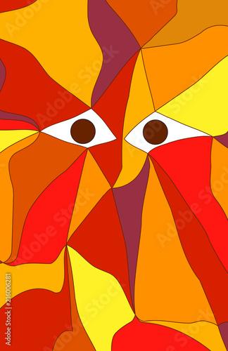 Portrait illustration in flat cubism style.