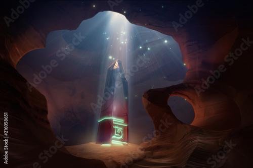 Fotografie, Obraz magical obelisk in the cave at night