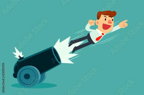 Obraz na plátně businessman shot out of cannon