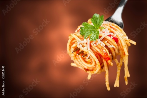Canvas Print Fork with just spaghetti around