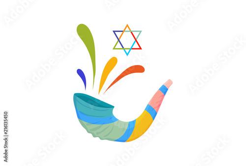 Obraz na płótnie Vector illustration for Yom Kippur and Rosh Hashanah: shofar or Yom Kippur Horn