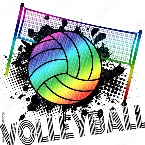 Poster or banner with a volleyball ball and splashes