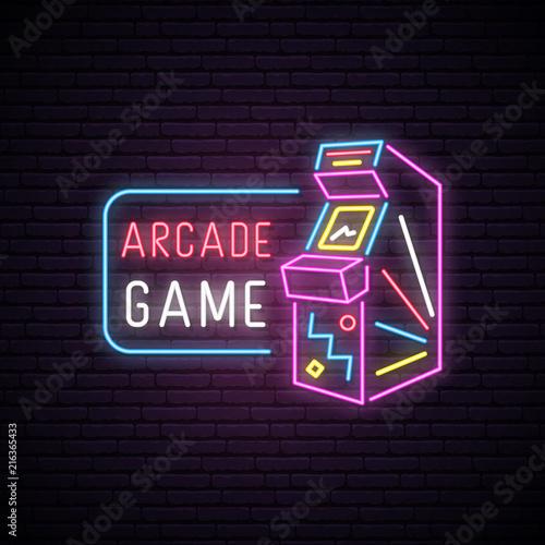 Foto Neon sign of Arcade game machine