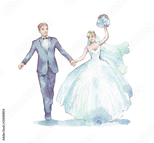 Groom and bride on white